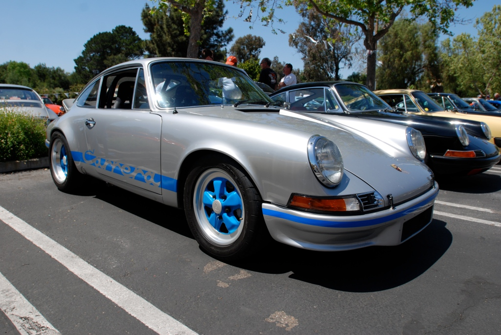 Silver Porsche 911 Carrera_blue wheels_RGruppe Solvang Treffen _May 5, 2012