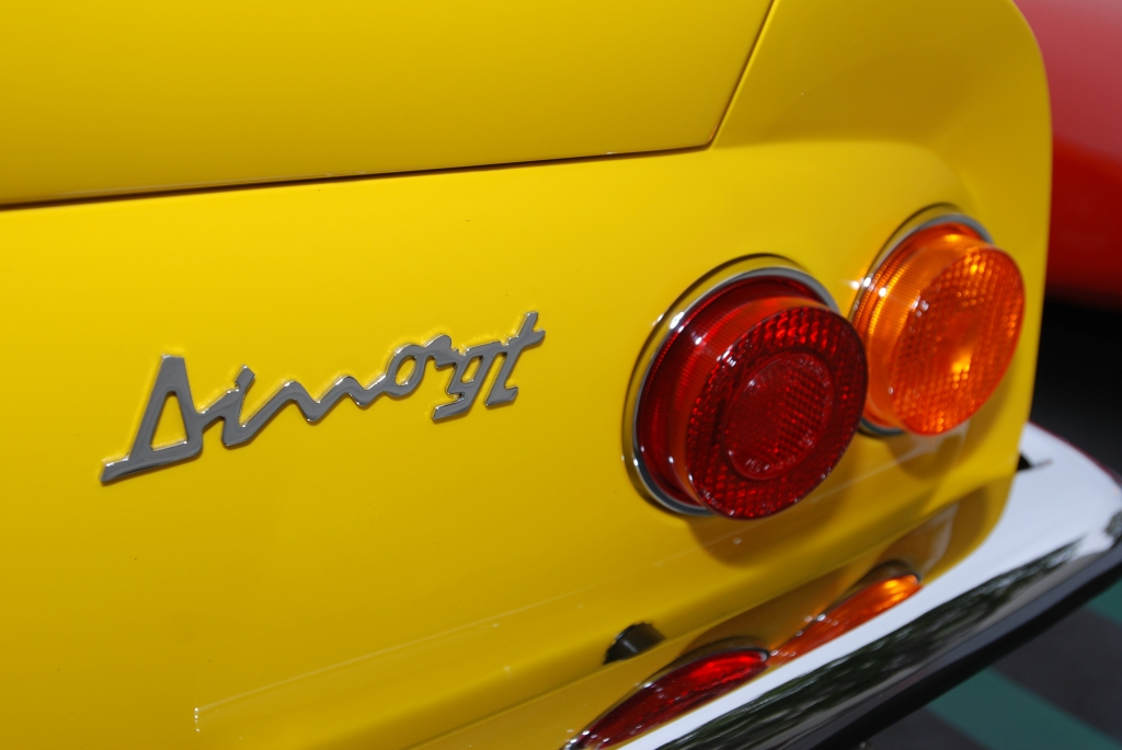Yellow Dino Ferrari_ rear badge_Cars&Coffee_5/28/12
