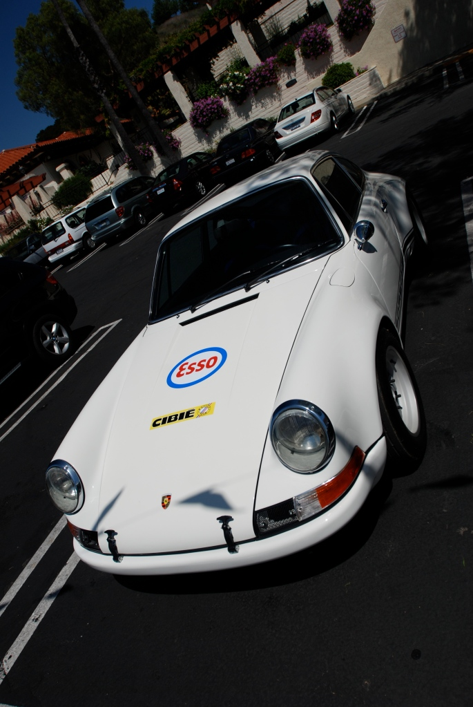 White 1970's Porsche 911ST clone_ oblique front view with flag shadow_RGruppe Solvang Treffen _May 5, 2012