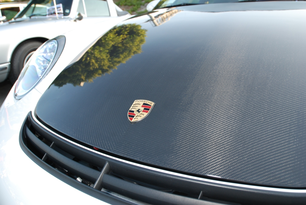 White Porsche GT3 _carbon fiber hood & badge detail_Cars&Coffee_5/28/12