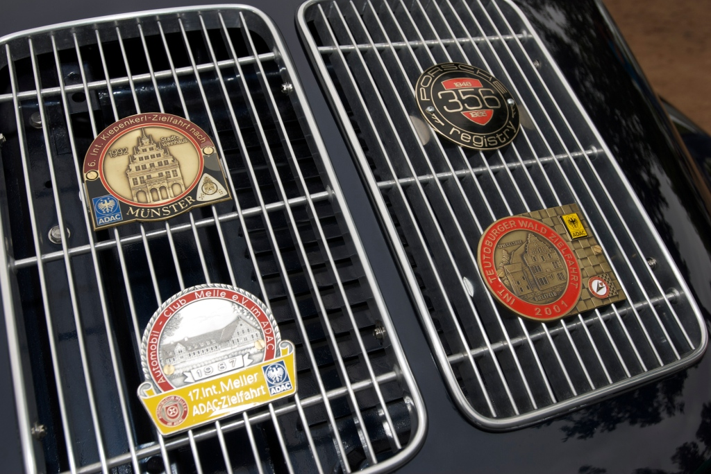 Black Porsche 356 coupe_rear grill badges_Cars&Coffee_5/28/12