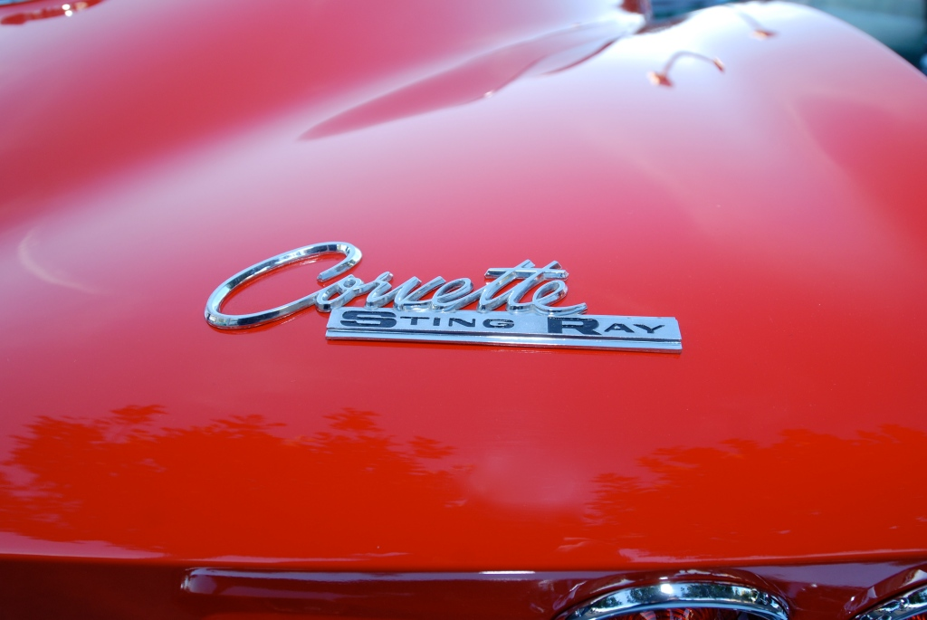 Red 1964 corvette stingray coupe_rear view_Cars&Coffee_5/28/12
