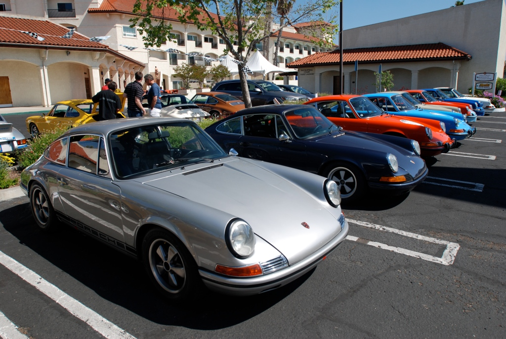 Silver 1968 Porsche 911L and 911s in row_RGruppe Solvang Treffen _May 5, 2012