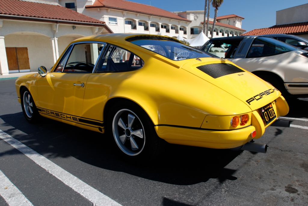 Yellow 1967 911R clone_3/4 rear view_RGruppe Solvang Treffen _May 5, 2012