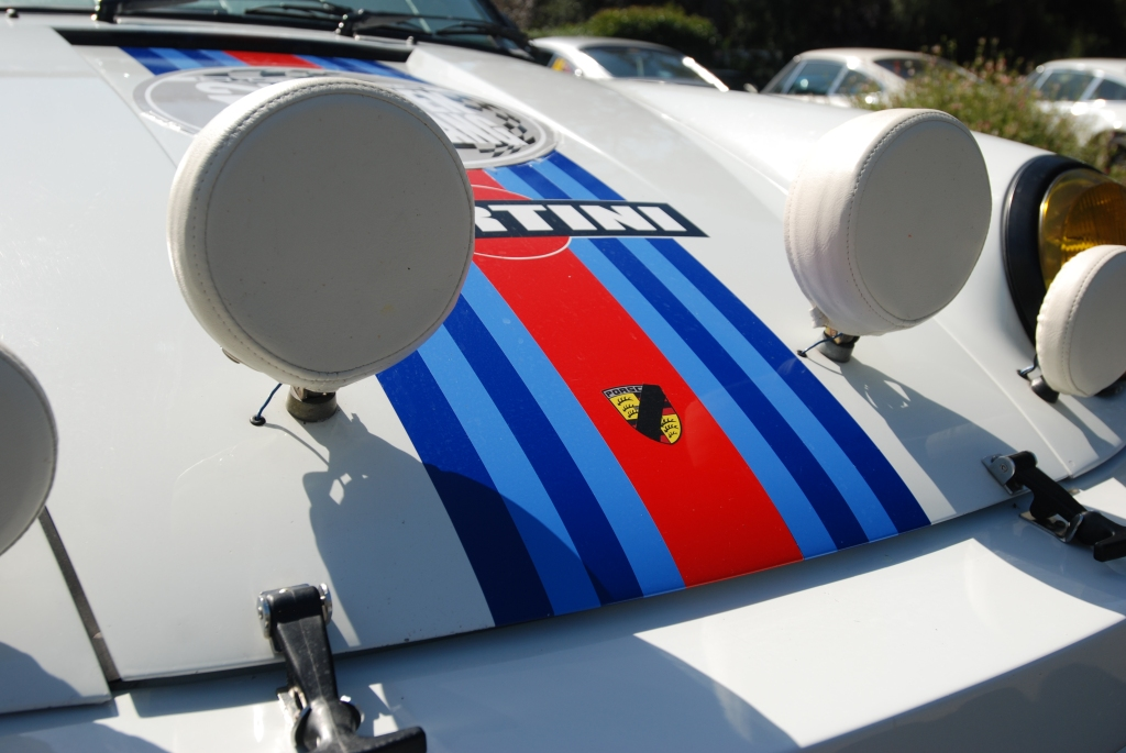 White Porsche 911_Martini Rally car_front hood detail_RGruppe Solvang Treffen _May 5, 2012