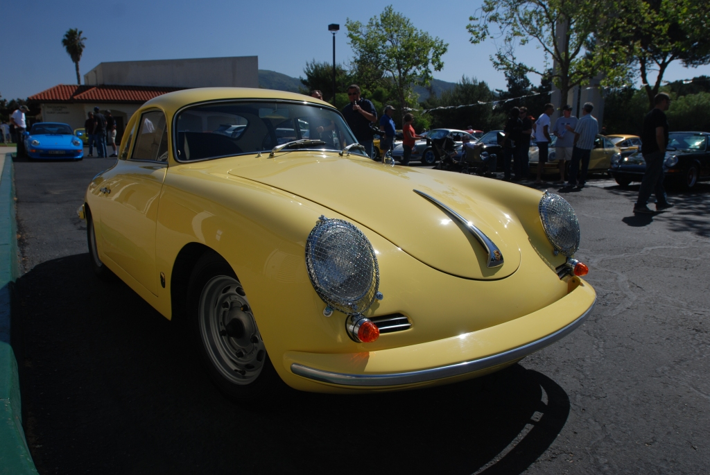 Yellow Porsche 356 super 90_3/4 front view_RGruppe Solvang Treffen _May 5, 2012