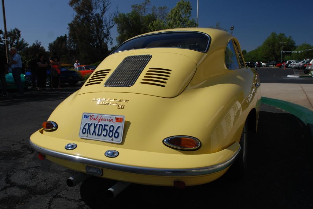 Yellow Porsche 356 super 90_3/4 rear view_RGruppe Solvang Treffen _May 5, 2012