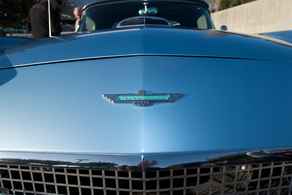 Blue 1957 Ford thunderbird_front hood emblem_Cars&Coffee_5/28/12