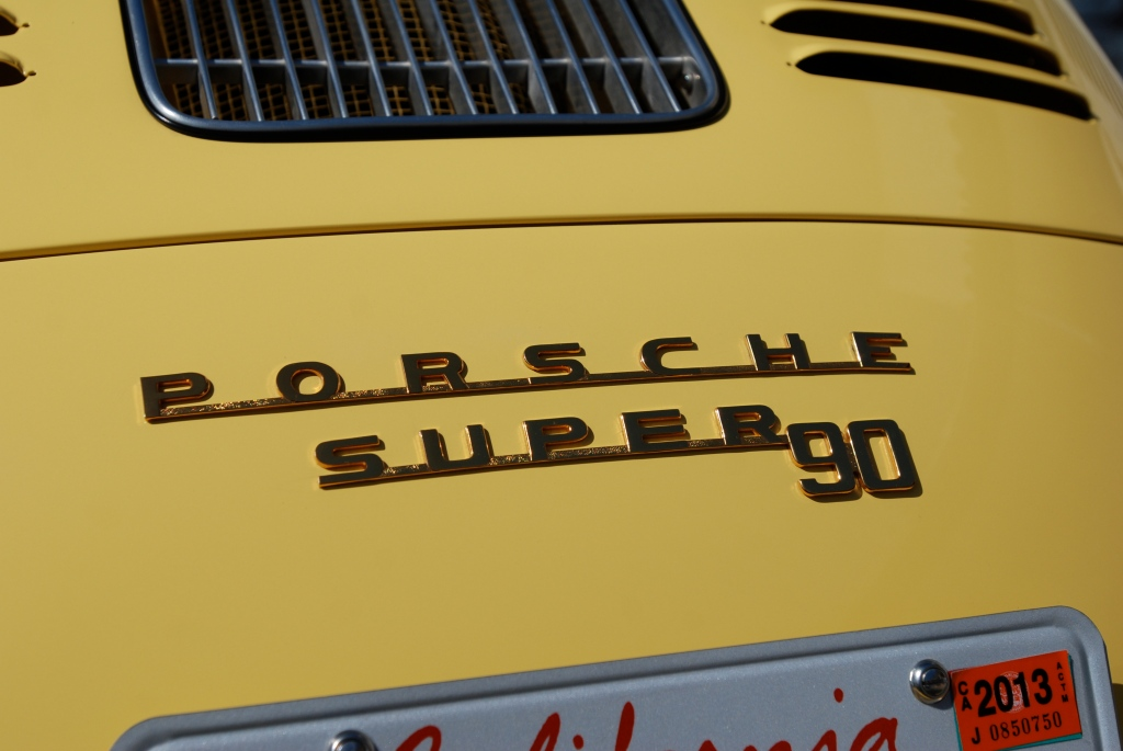 Yellow Porsche 356 super 90_rear badge detail_RGruppe Solvang Treffen _May 5, 2012