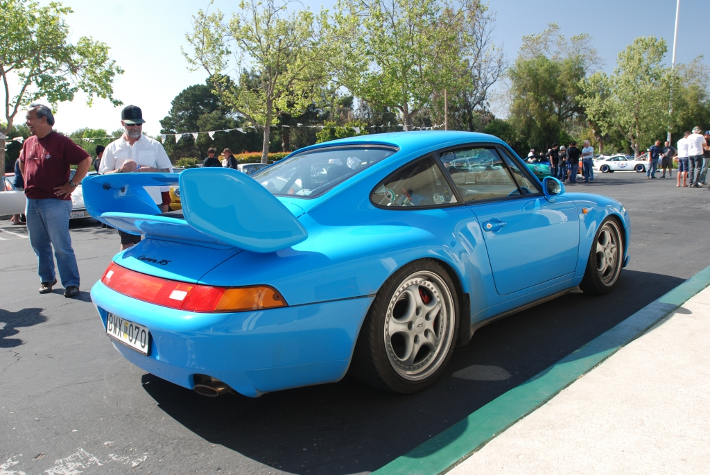 Mexico Blue 1996 Porsche 993 Carrera RS_3/4 rear view_RGruppe Solvang Treffen _May 5, 2012