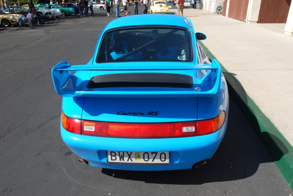 Mexico Blue 1996 Porsche 993 Carrera RS_ rear view_RGruppe Solvang Treffen _May 5, 2012