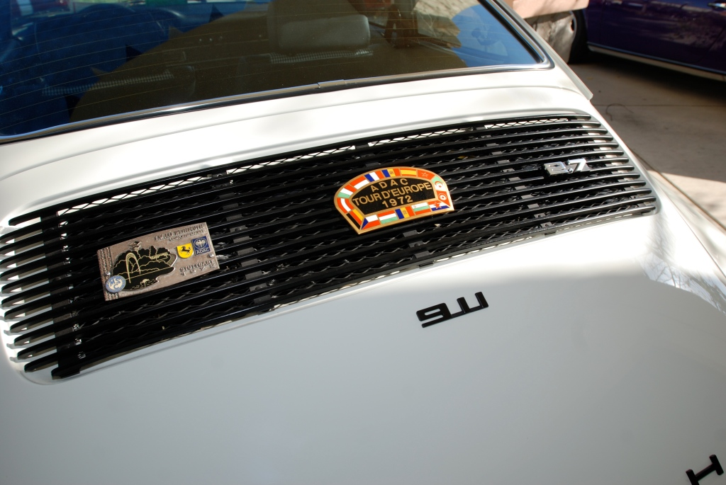 White 1972 Porsche 911_ rear grill and badges_Cars&Coffee_5/28/12