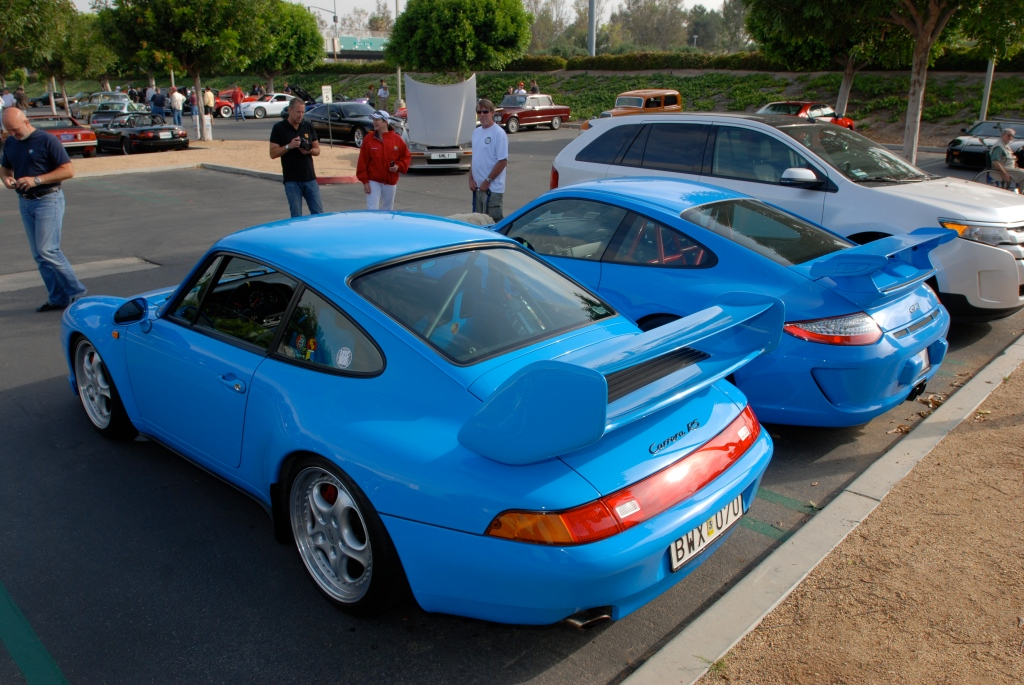 2 blue Porsches_1996 Carrera RS Club Sport & 2011 Type 997 GT3_3/4 rear view_Cars&Coffee_May 12, 2012