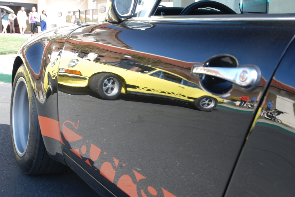 Black Porsche 911 RSR clone_with yellow Carrera RS reflections_RGruppe Solvang Treffen _May 5, 2012