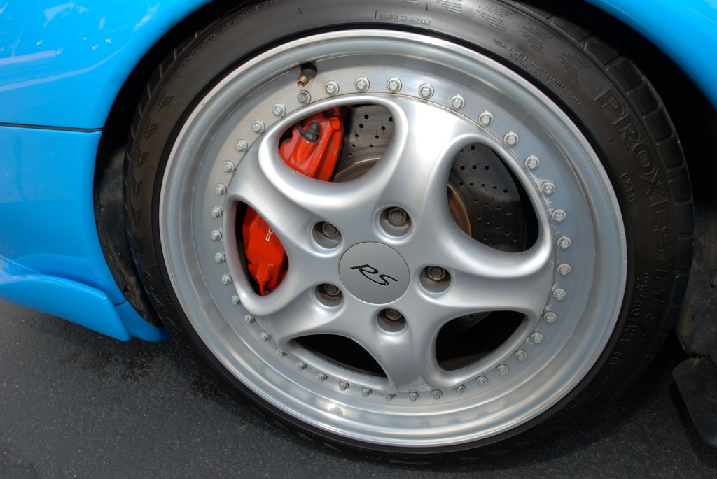 Mexico blue 1996 Porsche 993 Carrera RS Club Sport_Speedline front wheel detail _Cars&Coffee_May 12, 2012