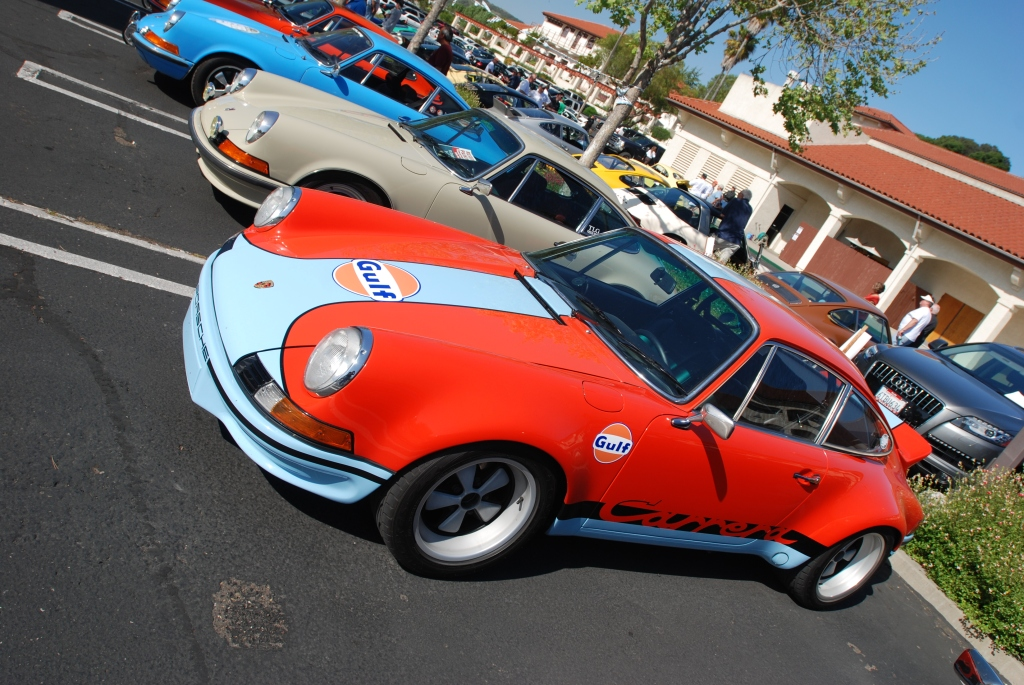 Orange Porsche 911 Carrera RSR_gulf blue stripes_RGruppe Solvang Treffen _May 5, 2012