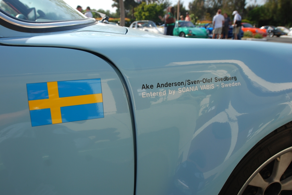 Gulf blue 1970's vintage Porsche factory built 911 Rally car_fender graphics_RGruppe Solvang Treffen _May 5, 2012
