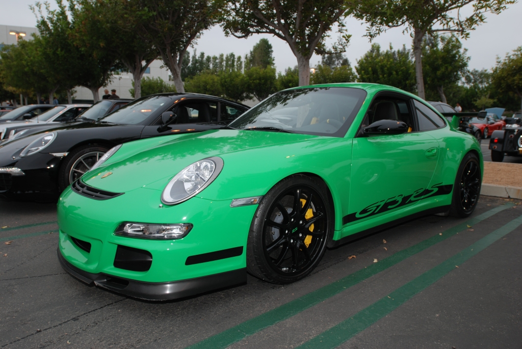 2007 viper green Porsche GT3RS_3/4 front view_Cars&Coffee-5/28/12