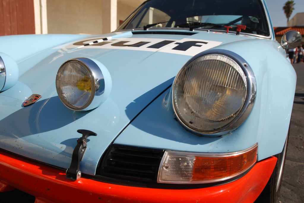 Gulf blue 1970's vintage Porsche factory built 911 Rally car_headlight detail_RGruppe Solvang Treffen _May 5, 2012
