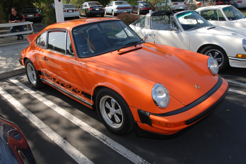 Orange 1974 Porsche 911 Carrera_3/4 front view_RGruppe Solvang Treffen _May 5, 2012