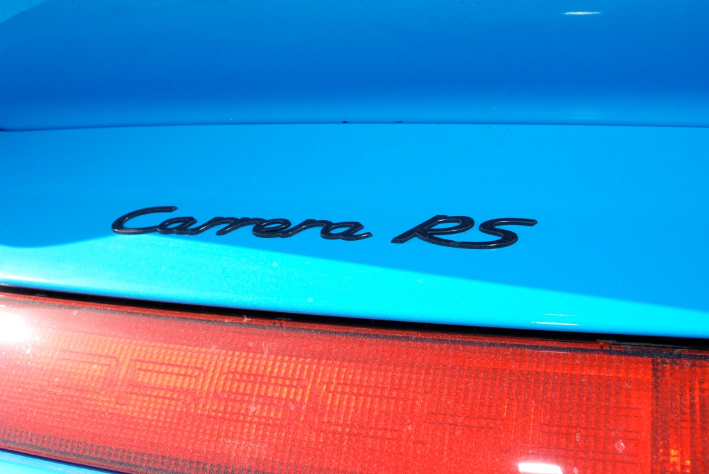 Mexico Blue 1996 Porsche 993 Carrera RS_ rear badge detail_RGruppe Solvang Treffen _May 5, 2012