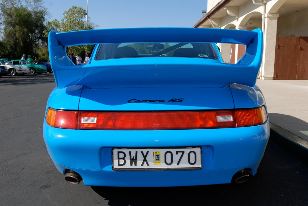 Mexico Blue 1996 Porsche 993 Carrera RS_ rear end_RGruppe Solvang Treffen _May 5, 2012