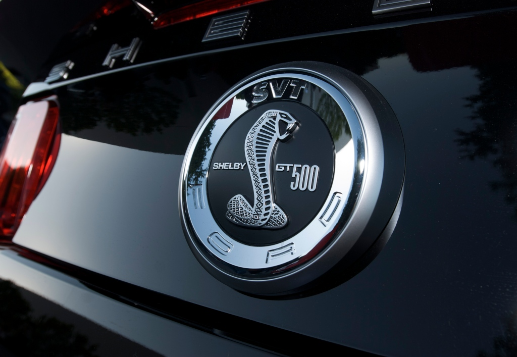 Black Ford mustang_Shelby GT 500 rear badge_Cars&Coffee_5/28/12