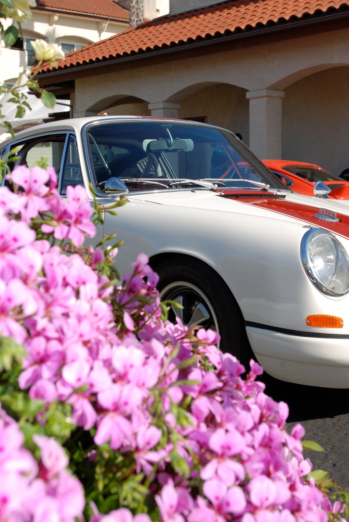 White early Porsche 911R clone w/ red stripe_3/4 front view w flowers_RGruppe Solvang Treffen _May 5, 2012