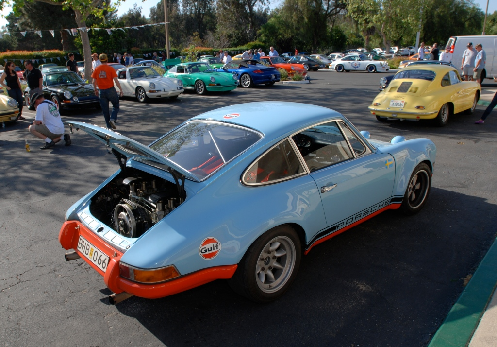 Gulf blue 1970's vintage Porsche factory built 911 Rally car_3/4 rear view_RGruppe Solvang Treffen _May 5, 2012