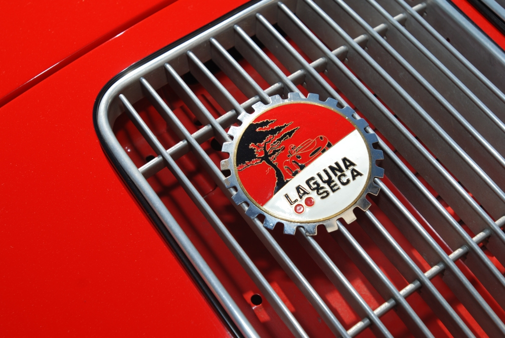 Red Porsche 356 cabriolet_rear grill badge_Cars&Coffee_5/28/12