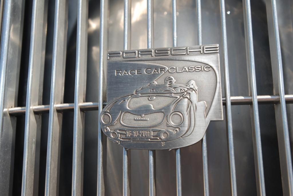 Silver Porsche 356 A coupe_rear grill event badge_Cars&Coffee_5/28/12