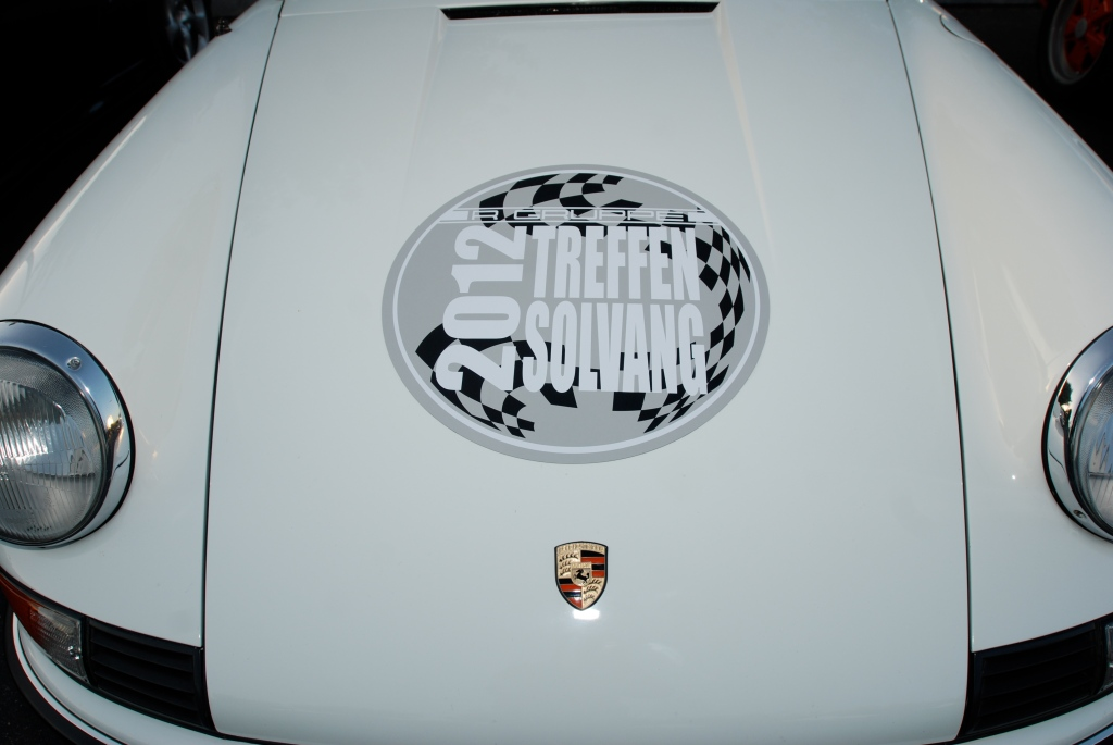 White Porsche 911 w/ RGruppe 2012 Treffen magnetic hood graphic_Cars&Coffee/Irvine_April 28, 2012