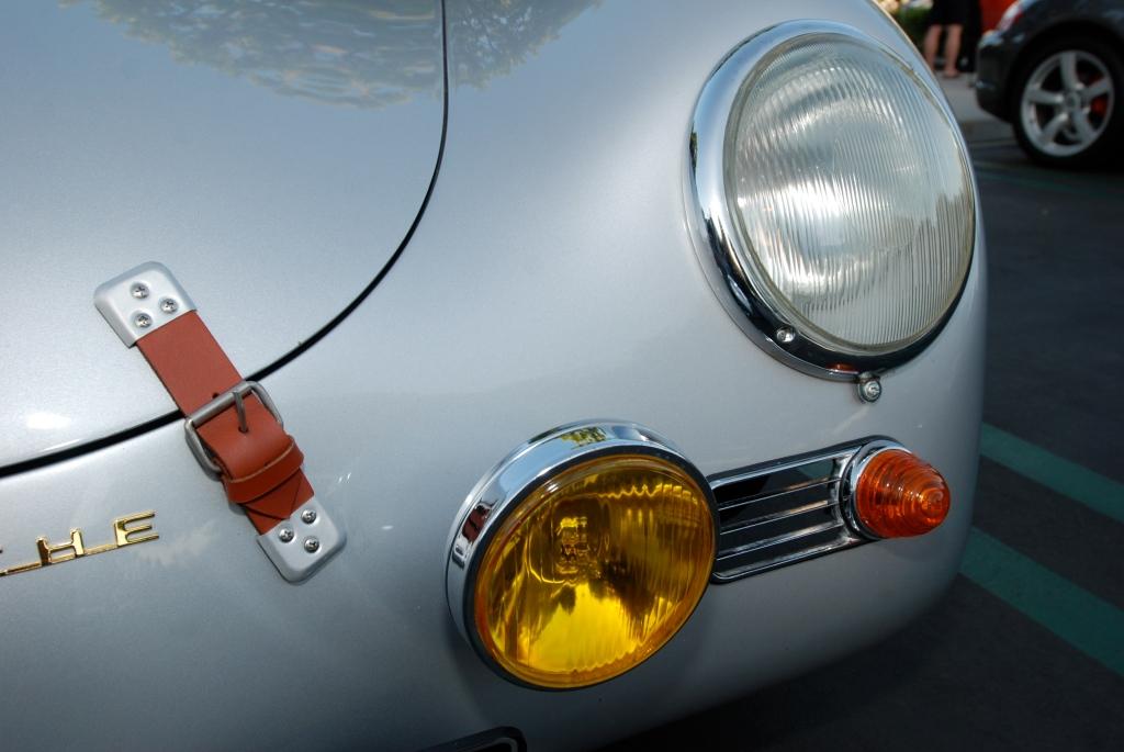 Silver Porsche 356A coupe_headlight/foglight detail_Cars&Coffee/Irvine_April 28, 2012