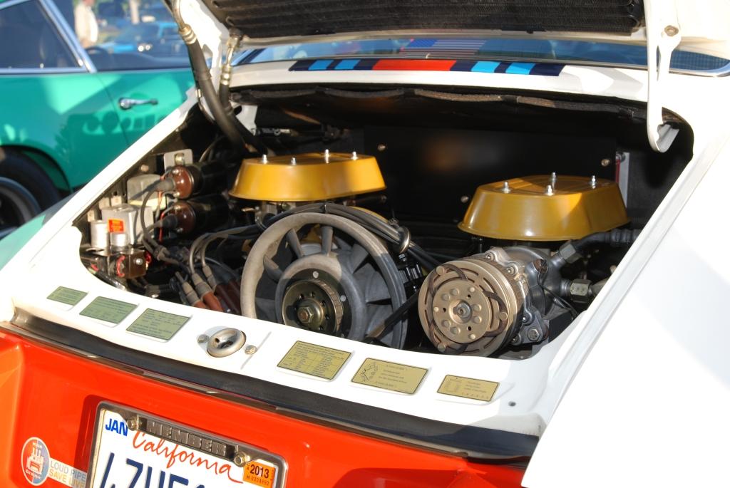 White 1970 Porsche 911 w/ Martini Stripes & twin plug motor_Cars&Coffee/Irvine_April 28, 2012