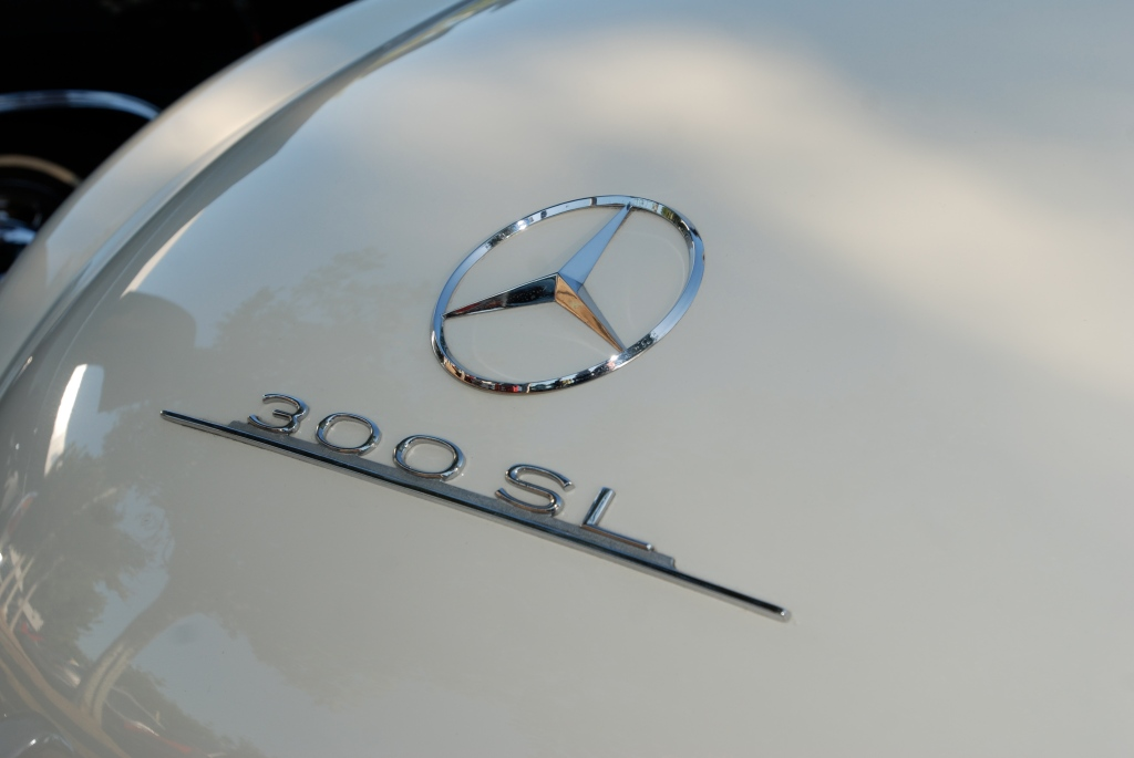 Ivory Mercedes Benz 300SL_rear trunk lid badging_Cars&Coffee_5/28/12