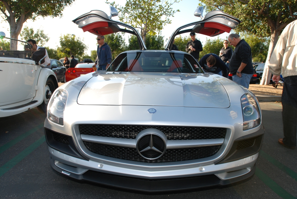 Silver Mercedes Benz AMG SLS_front view_Cars&Coffee/Irvine_April 28, 2012