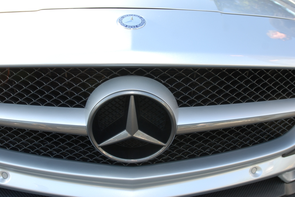 Silver Mercedes Benz AMG SLS_grill detail_Cars&Coffee/Irvine_April 28, 2012