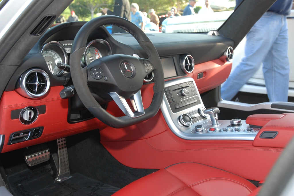 Silver Mercedes Benz AMG SLS_red&black interior_Cars&Coffee/Irvine_April 28, 2012