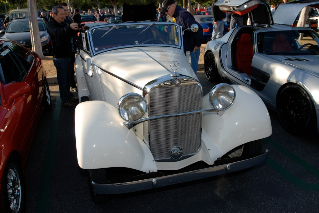 White 1935 Type 200 A Mercedes Benz Cabriolet_front view_Cars&Coffee/Irvine_April 28, 2012