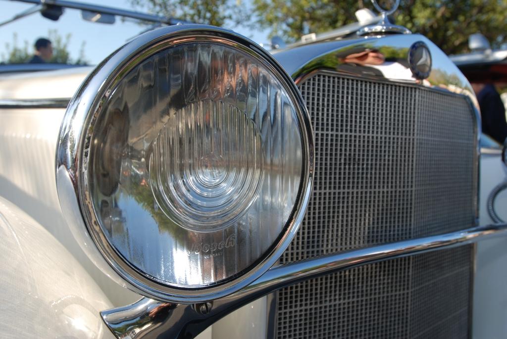 White 1935 Type 200 A Mercedes Benz Cabriolet_Bosch headlight detail_Cars&Coffee/Irvine_April 28, 2012