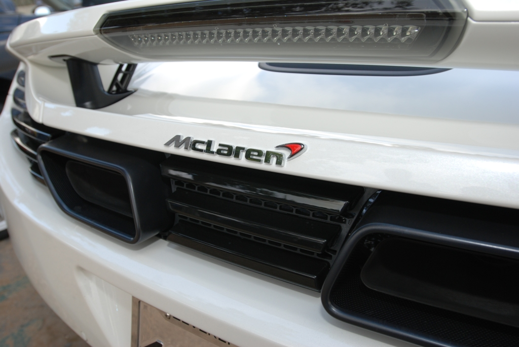 Pearl white McLaren MP4-12C_rear view_Cars&Coffee_5/28/12