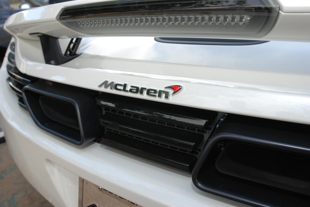 Pearl white McLaren MP4-12C_rear view_Cars&Coffee_5/28/12