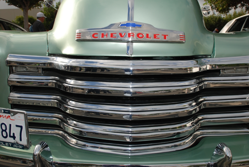 Metallic green 1948 Chevrolet pick up truck_front grill detail_Cars&Coffee_5/28/12
