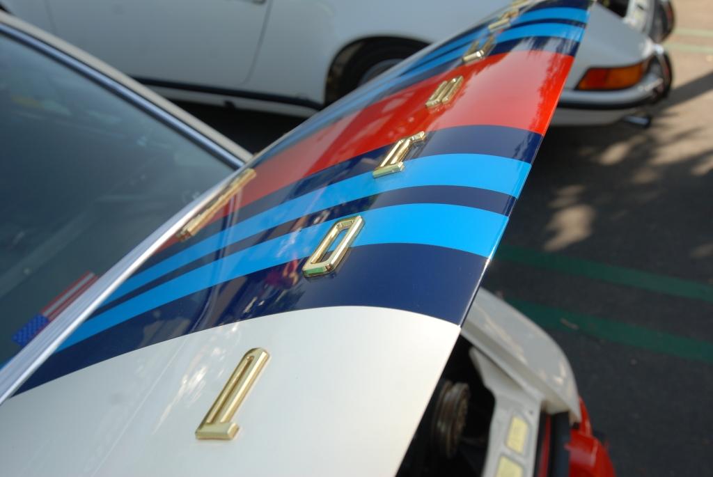 White 1970 Porsche 911 w/ Martini stripes_rear deck lid_Cars&Coffee/Irvine_April 28, 2012