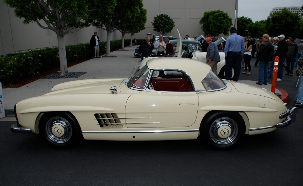 Mercedes Benz 300SL roadster_Pale yellow with red interior_side view_Cars&Coffee_June 2, 2012