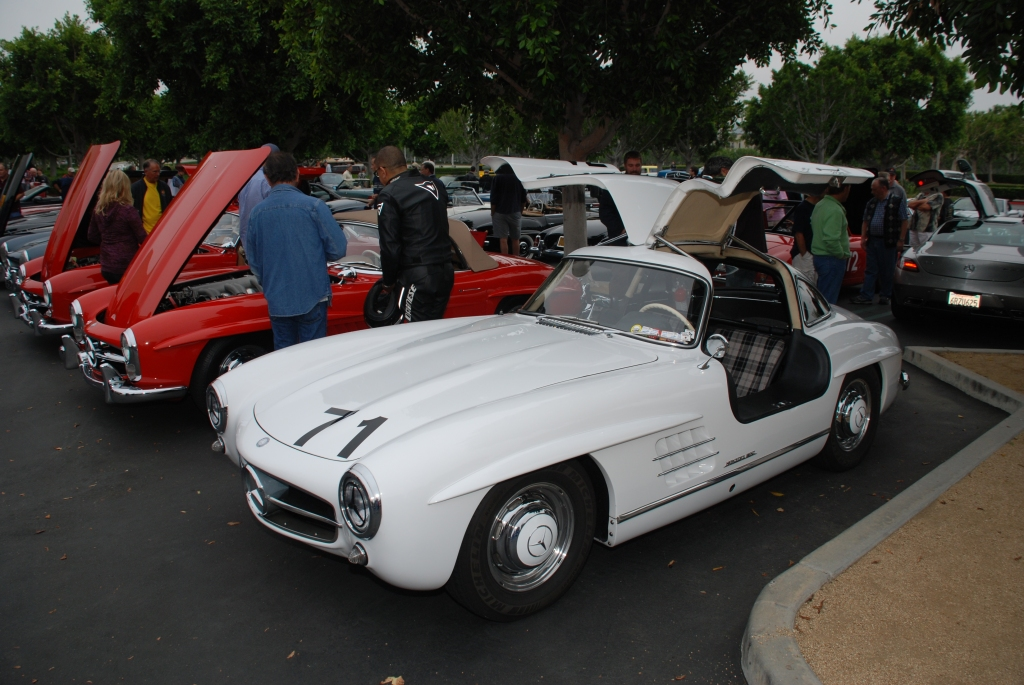 White Mercedes Benz 300SL Gullwing coupe_race car_3/4 front view_Cars&Coffee_June 2, 2012