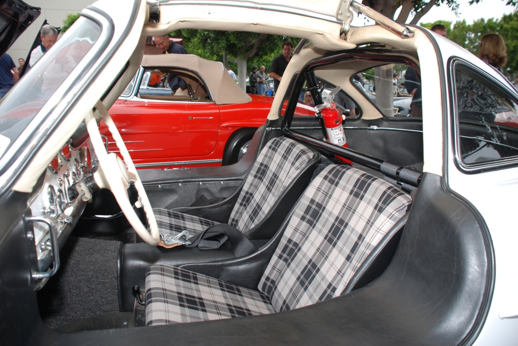 White Mercedes Benz 300SL Gullwing coupe_race car_interior view_Cars&Coffee_June 2, 2012