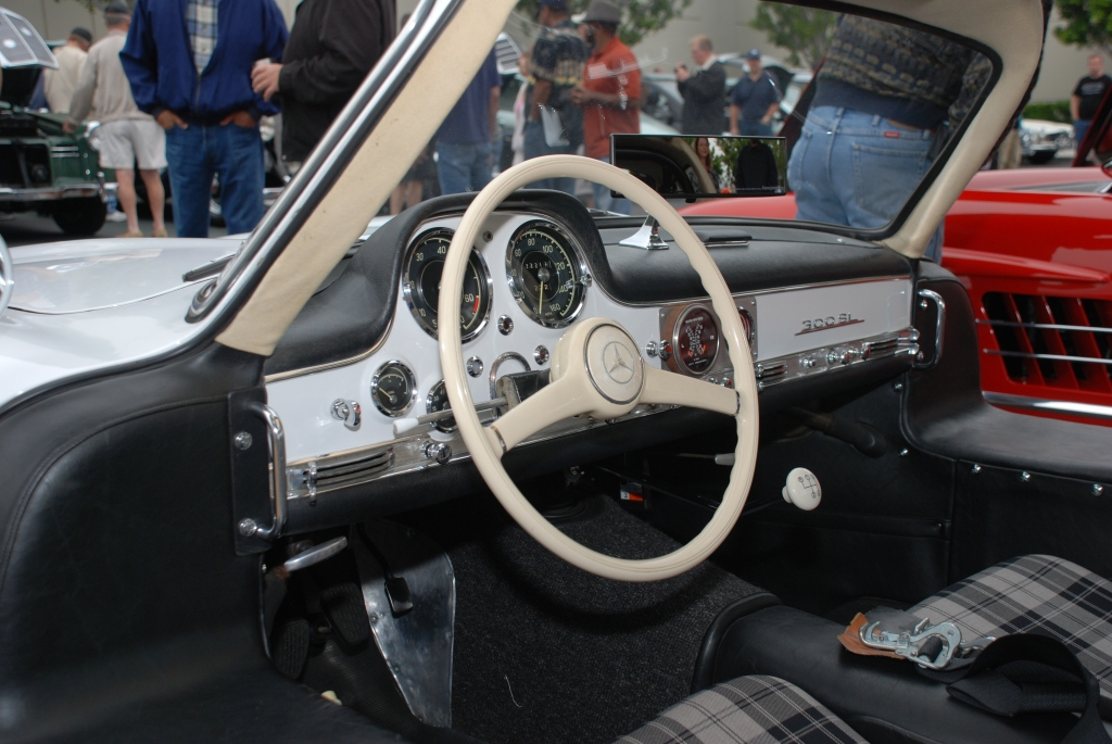 White Mercedes Benz 300SL Gullwing coupe_race car_dashboard detail_Cars&Coffee_June 2, 2012