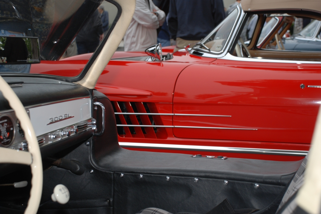 Red Mercedes Benz 300SL roadster_drivers side detail_Cars&Coffee_June 2, 2012