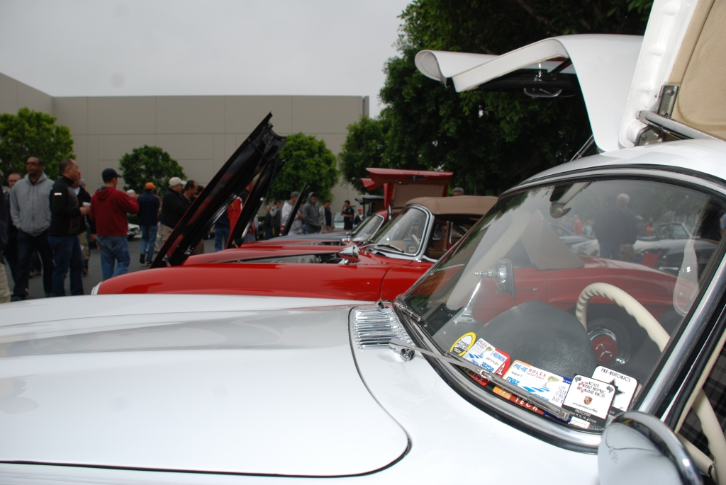 White Mercedes Benz 300SL Gullwing coupe_race car_windshield sticker details_Cars&Coffee_June 2, 2012